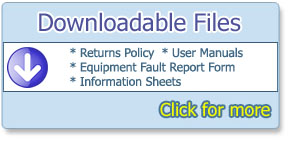Downloadable files, returns policy, user manuals, equipment fault report form